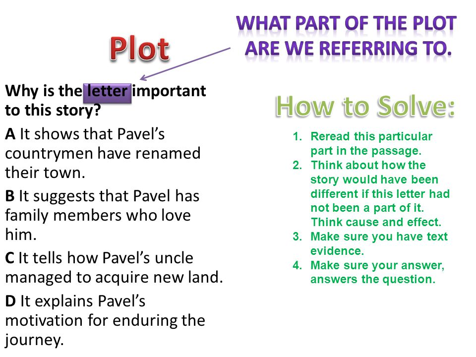 Plot How to Solve: What part of the plot Are we referring to.