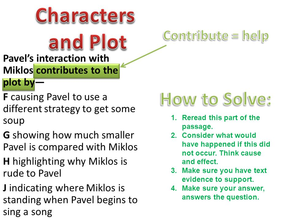 Characters and Plot How to Solve: Contribute = help