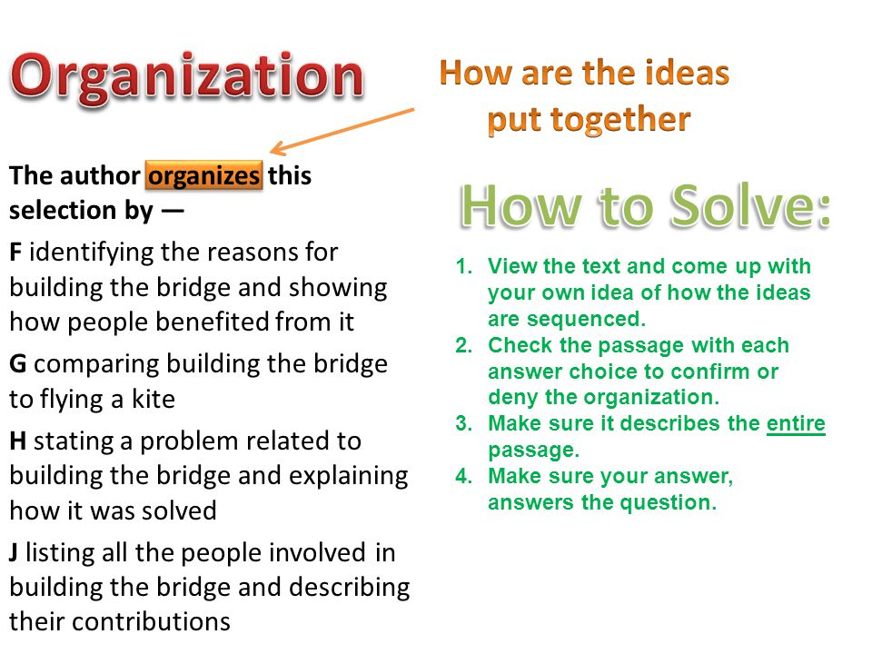 Organization How to Solve: