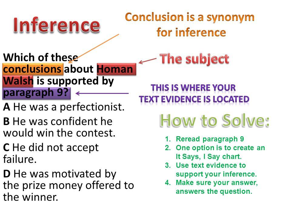 Conclusion is a synonym text evidence is located