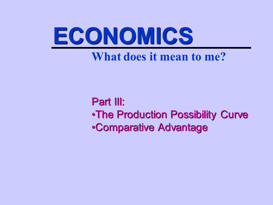ECONOMICS What does it mean to me Part III: