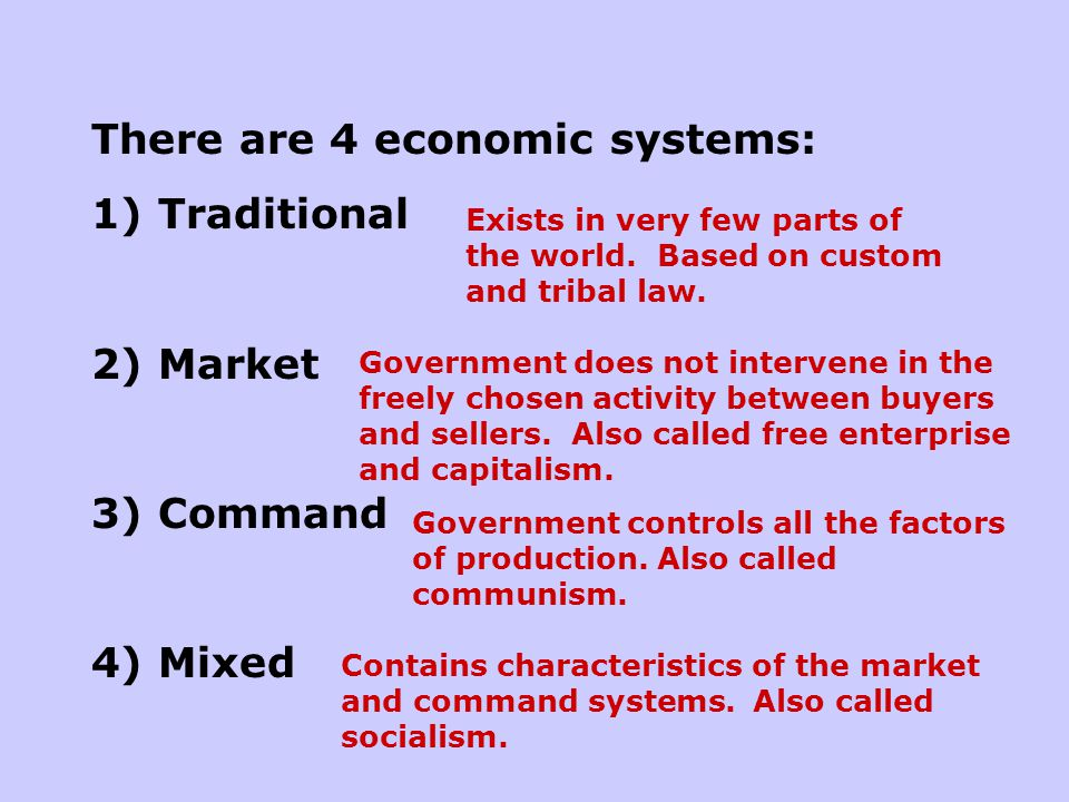 There are 4 economic systems: 1) Traditional