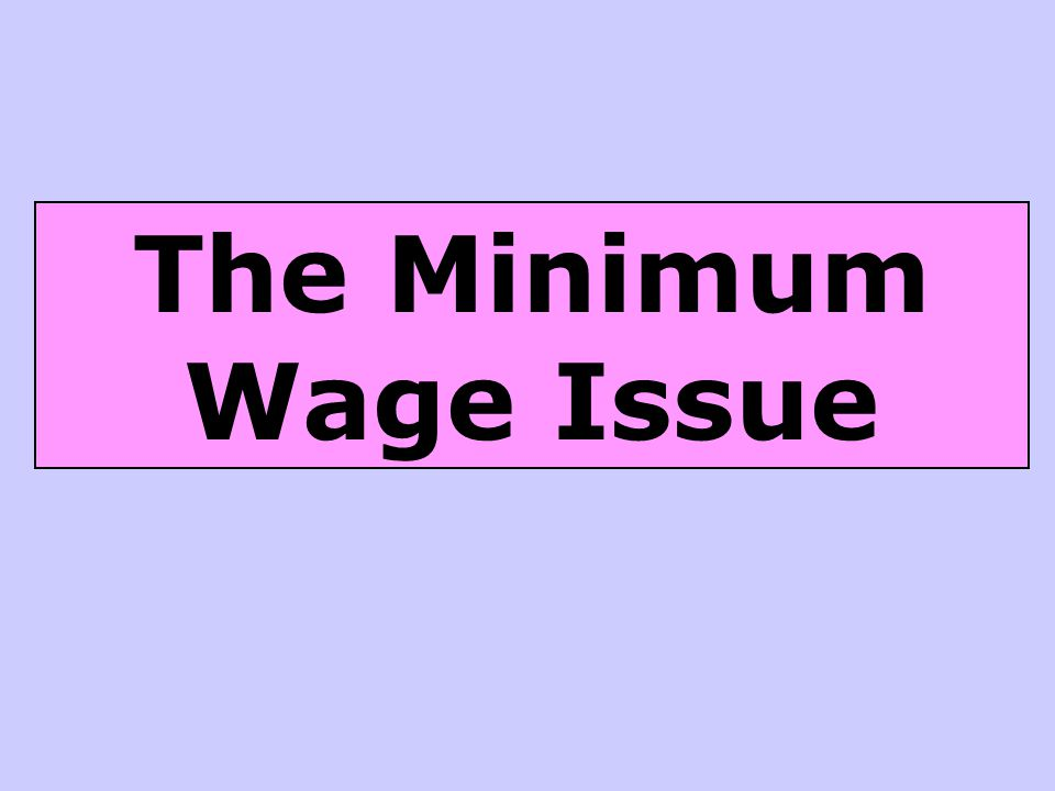 The Minimum Wage Issue