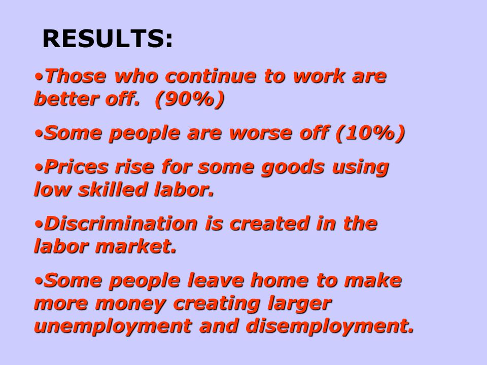 RESULTS: Those who continue to work are better off. (90%)