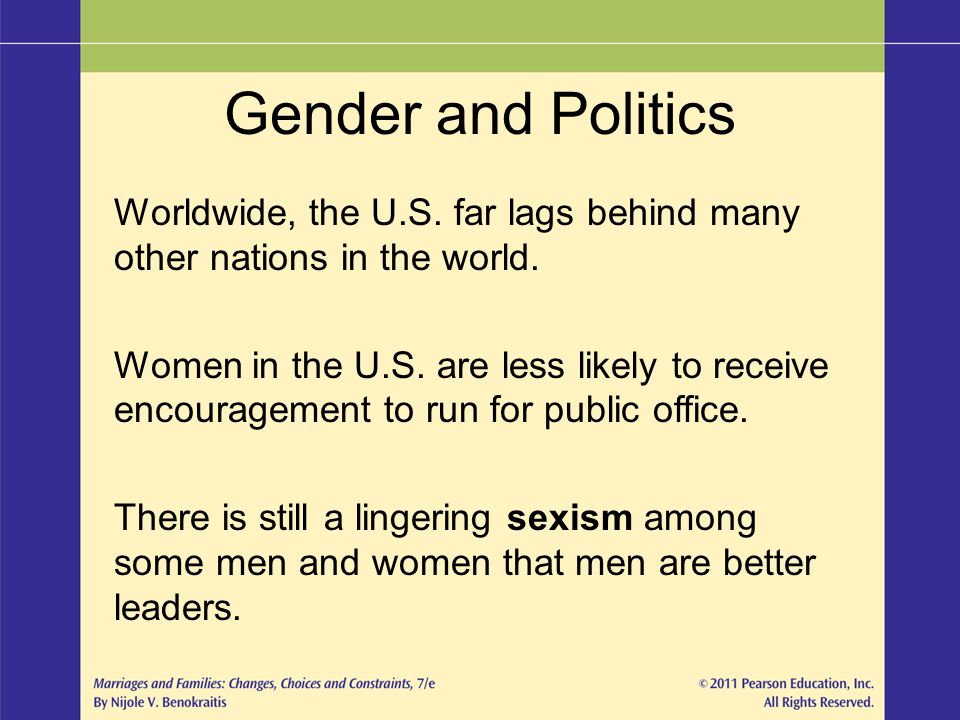 Gender and Politics Worldwide, the U.S. far lags behind many other nations in the world.