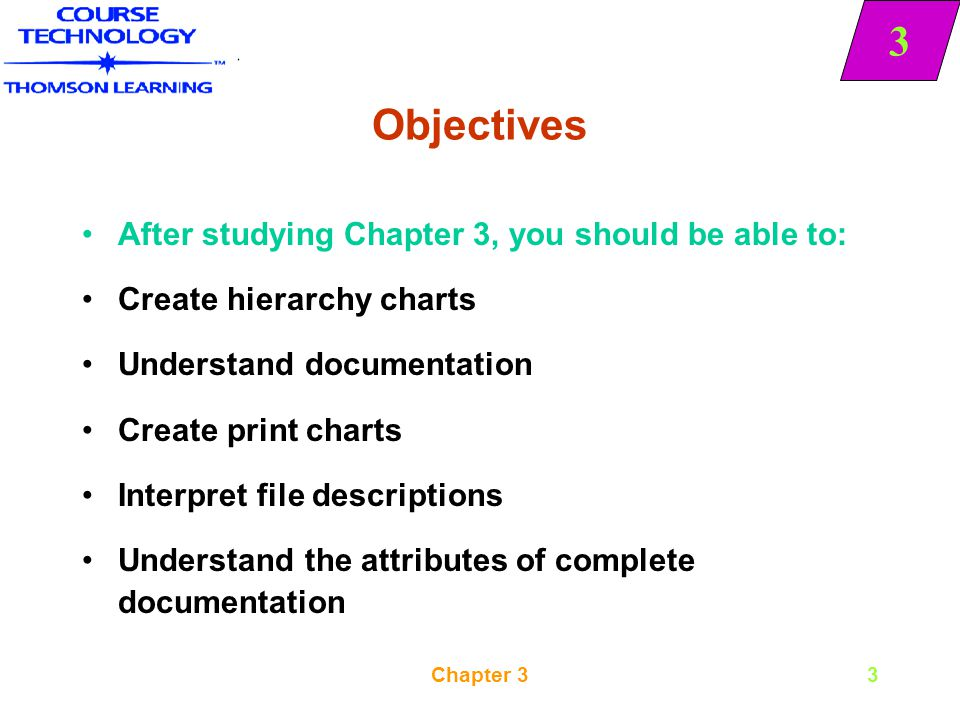 Objectives After studying Chapter 3, you should be able to: