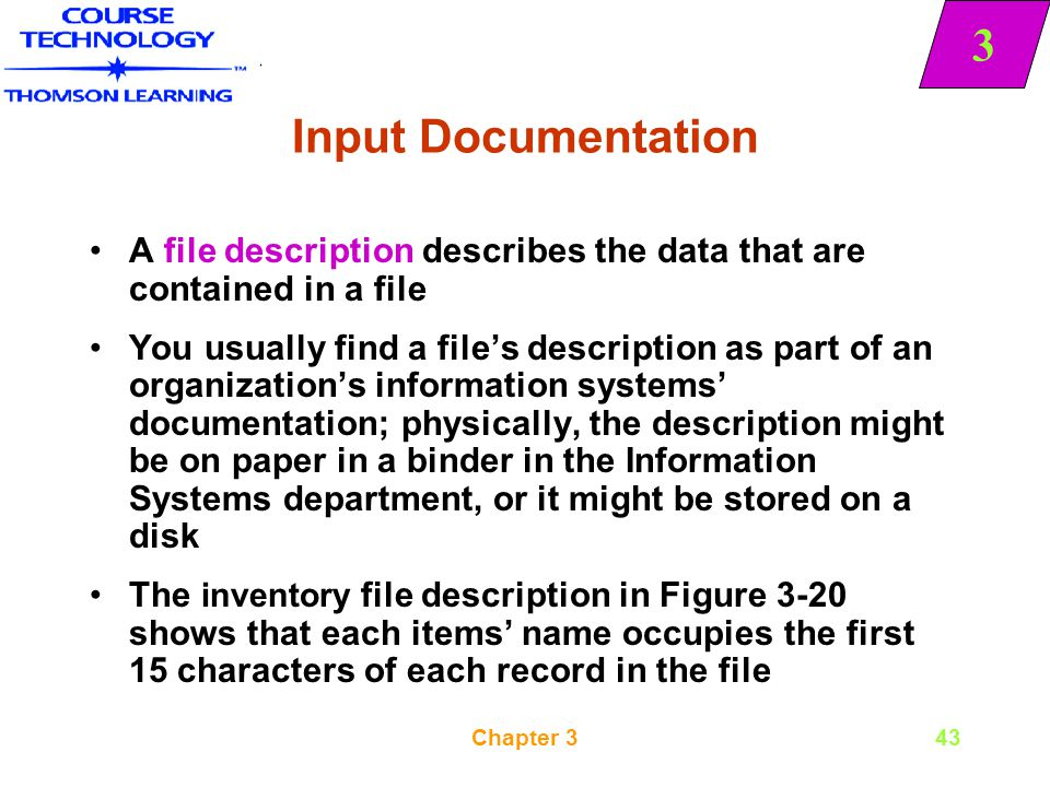 Input Documentation A file description describes the data that are contained in a file.