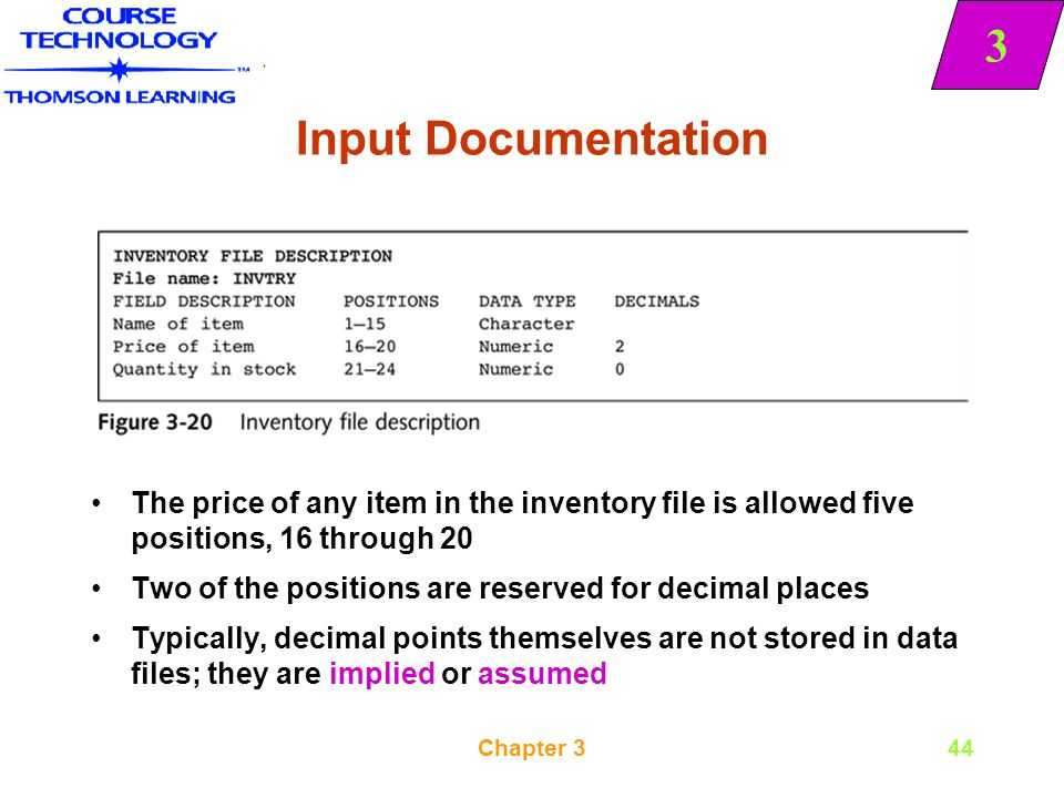 Input Documentation The price of any item in the inventory file is allowed five positions, 16 through 20.