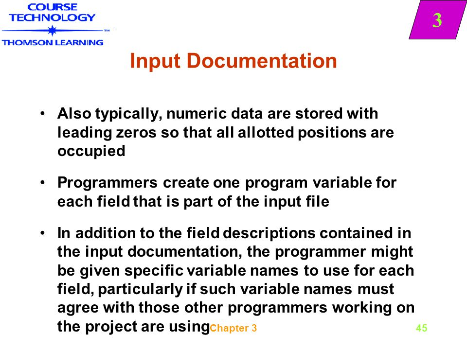 Input Documentation Also typically, numeric data are stored with leading zeros so that all allotted positions are occupied.