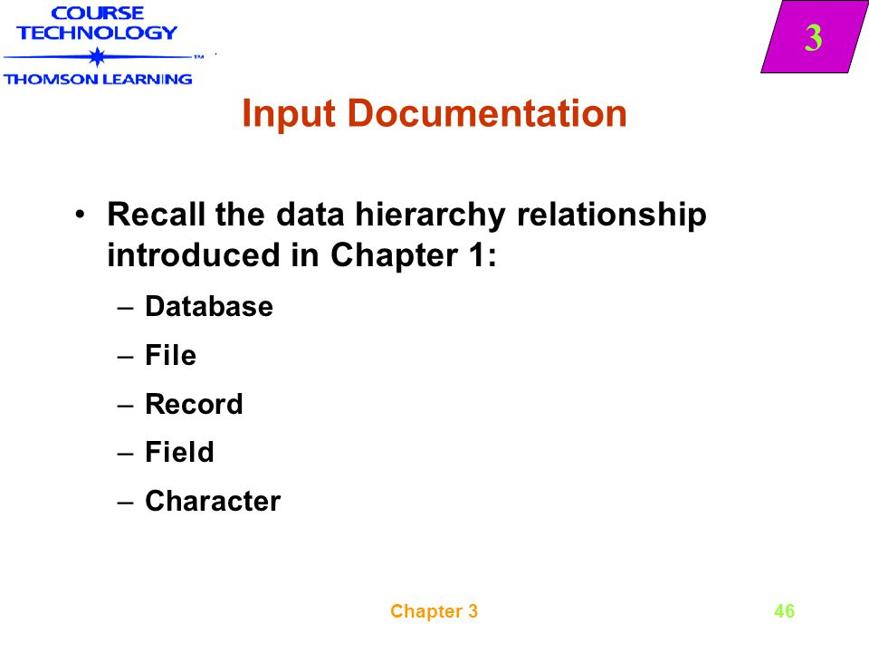 Input Documentation Recall the data hierarchy relationship introduced in Chapter 1: Database. File.