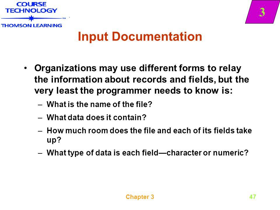 Input Documentation