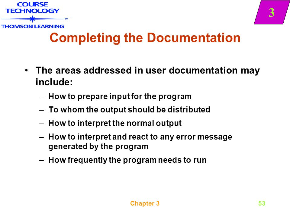 Completing the Documentation
