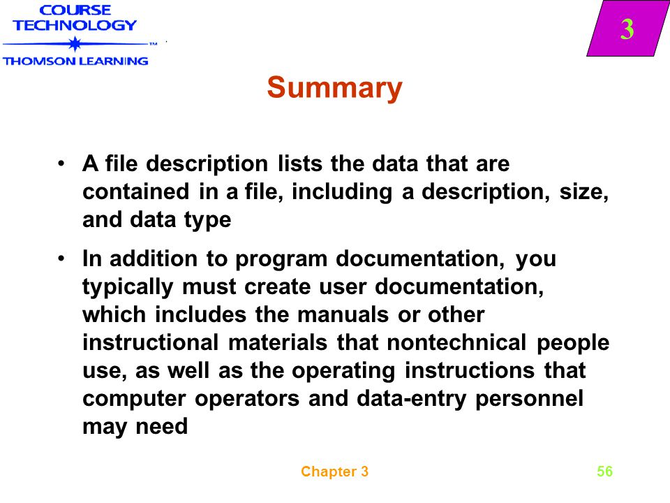 Summary A file description lists the data that are contained in a file, including a description, size, and data type.