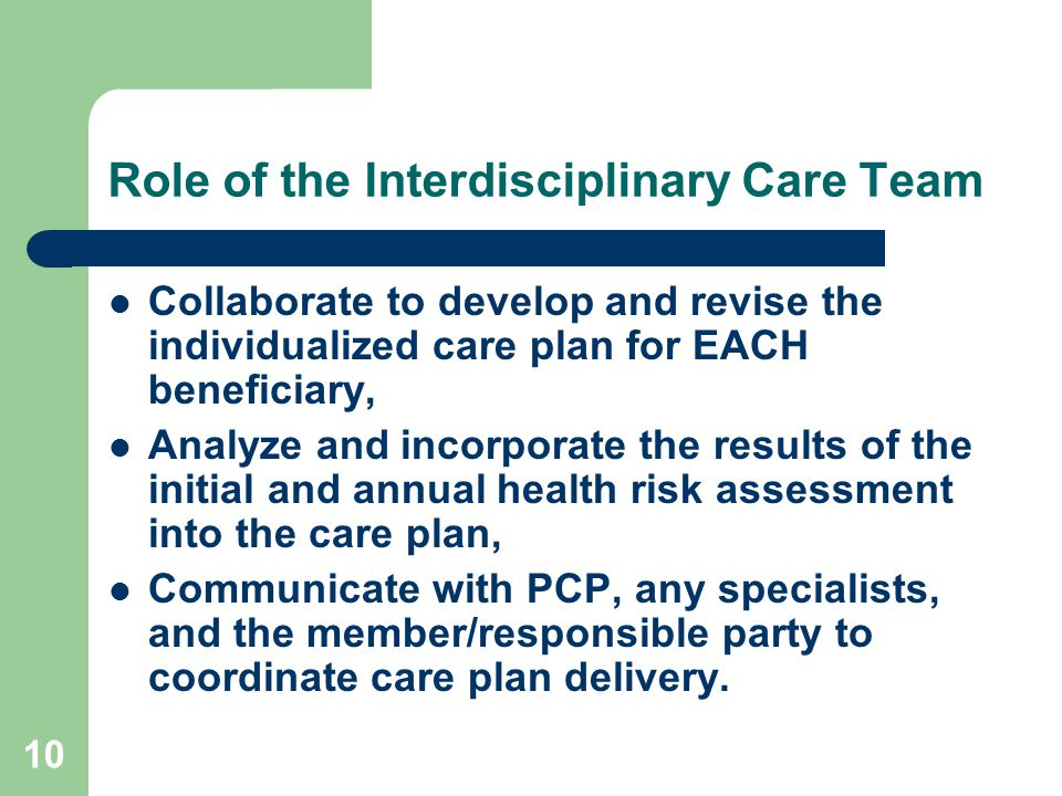 Role of the Interdisciplinary Care Team