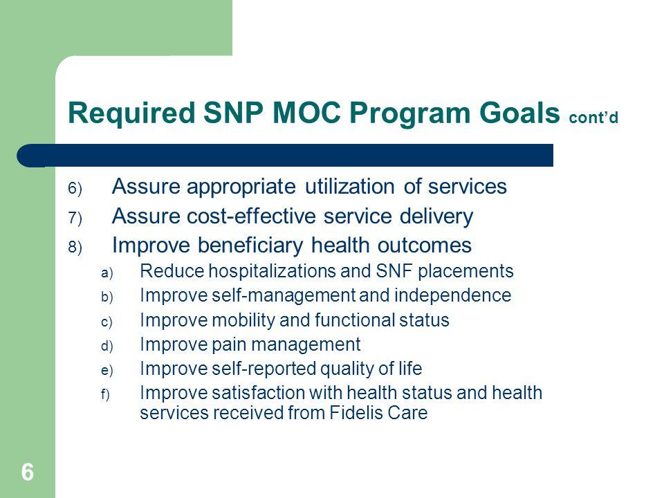 Required SNP MOC Program Goals cont'd
