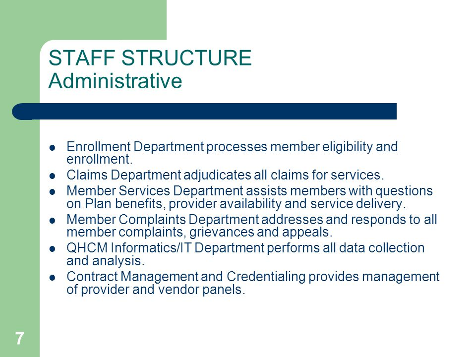 STAFF STRUCTURE Administrative