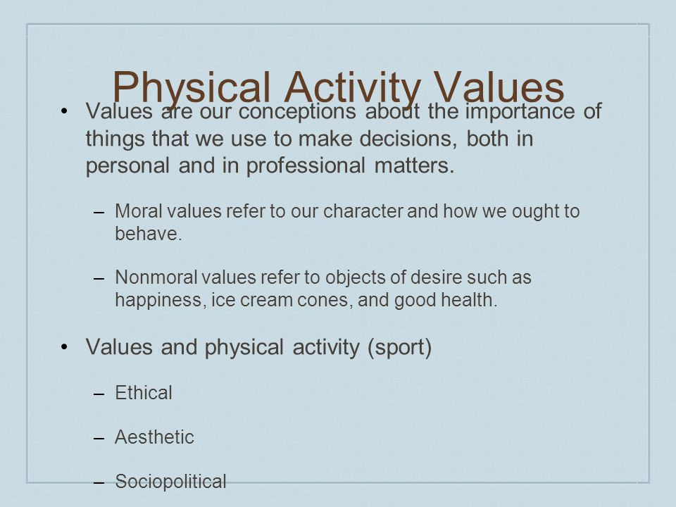 Physical Activity Values