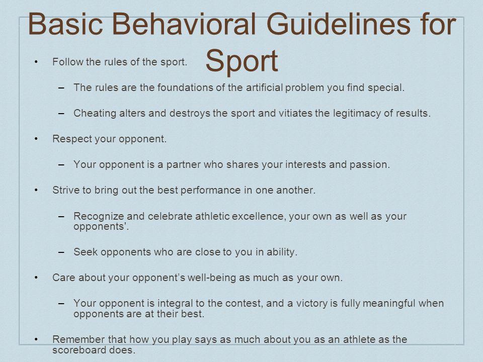 Basic Behavioral Guidelines for Sport