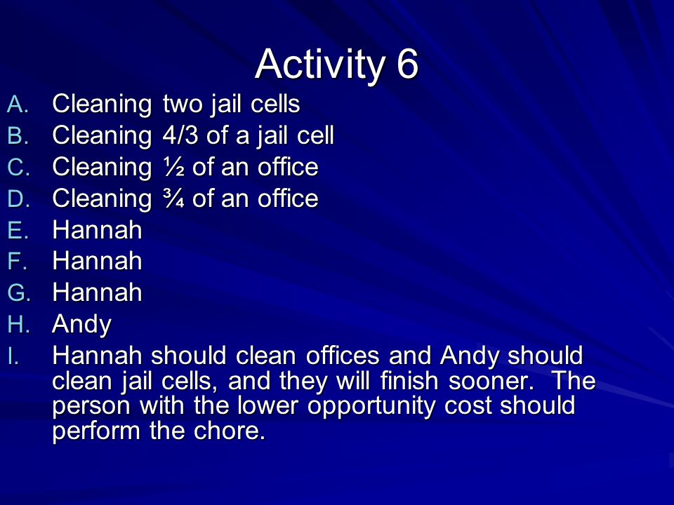 Activity 6 Cleaning two jail cells Cleaning 4/3 of a jail cell