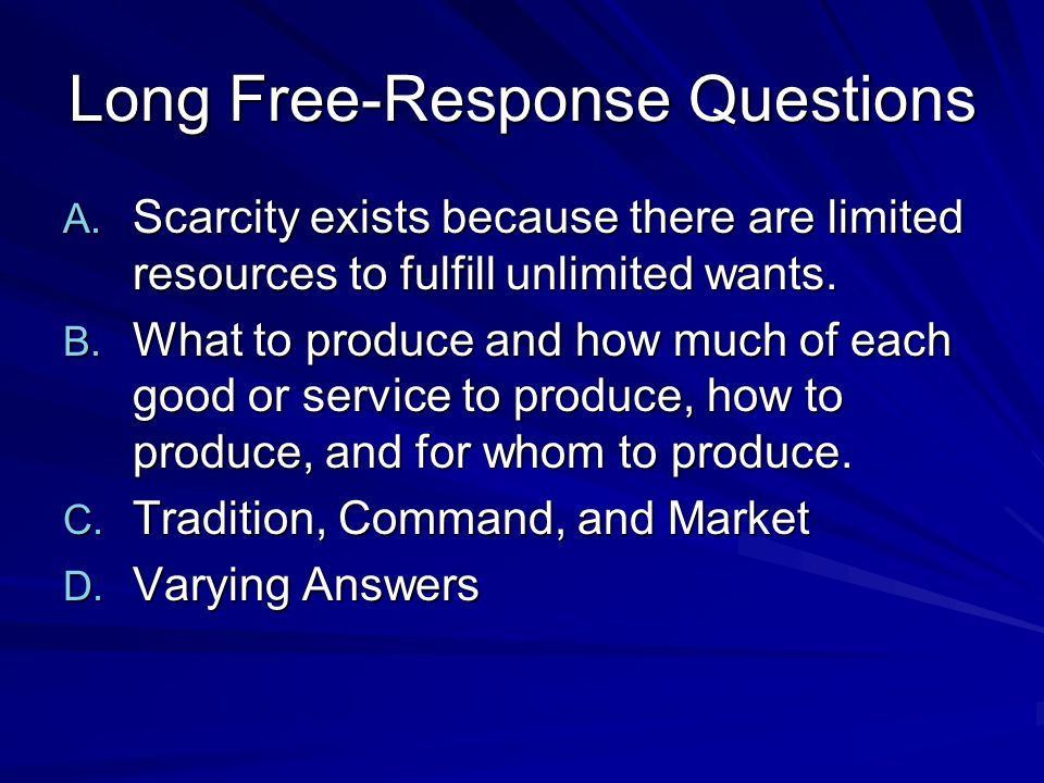 Long Free-Response Questions