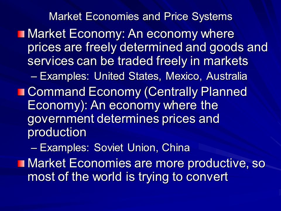 Market Economies and Price Systems