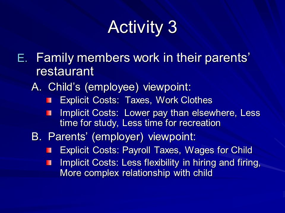 Activity 3 Family members work in their parents' restaurant