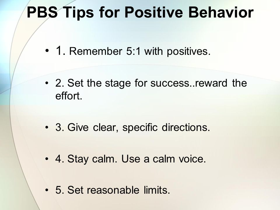 PBS Tips for Positive Behavior