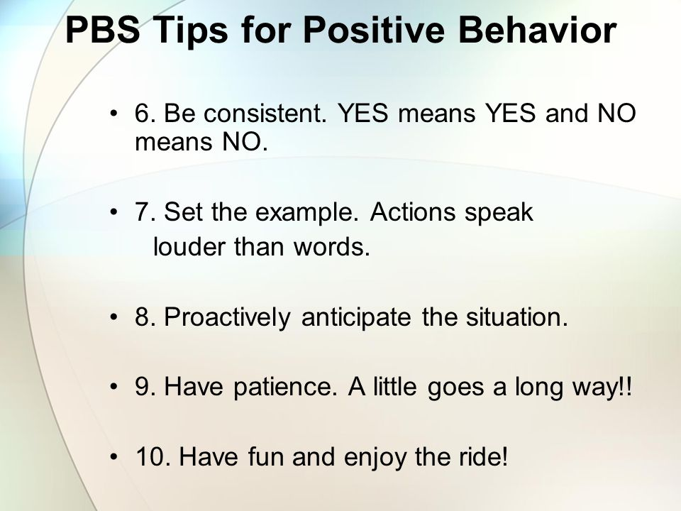 PBS Tips for Positive Behavior