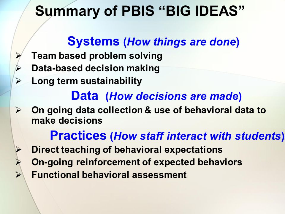 Summary of PBIS BIG IDEAS