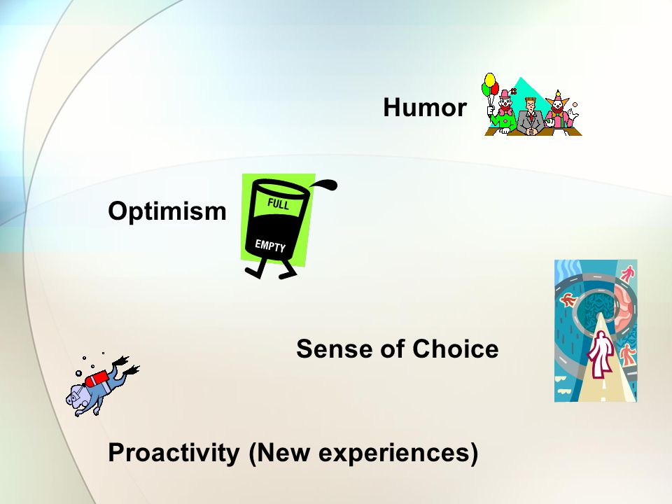 Humor Optimism Sense of Choice Proactivity (New experiences)