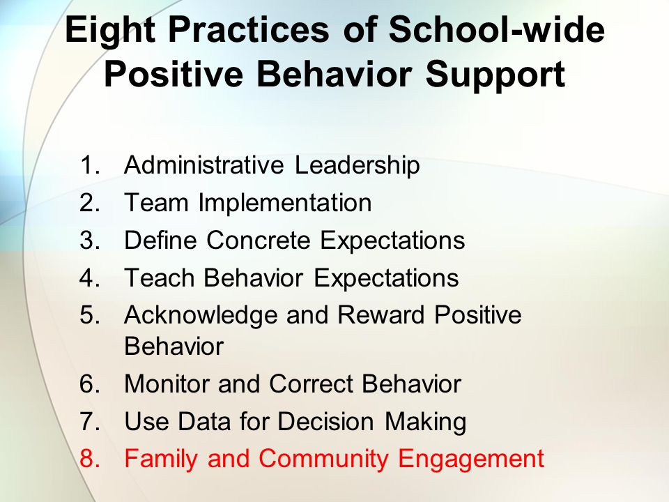 Eight Practices of School-wide Positive Behavior Support