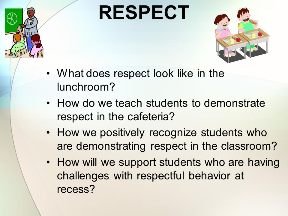 RESPECT What does respect look like in the lunchroom