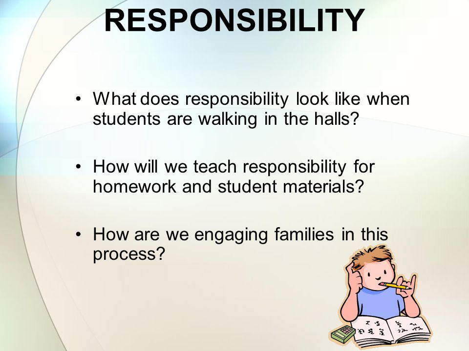 RESPONSIBILITY What does responsibility look like when students are walking in the halls