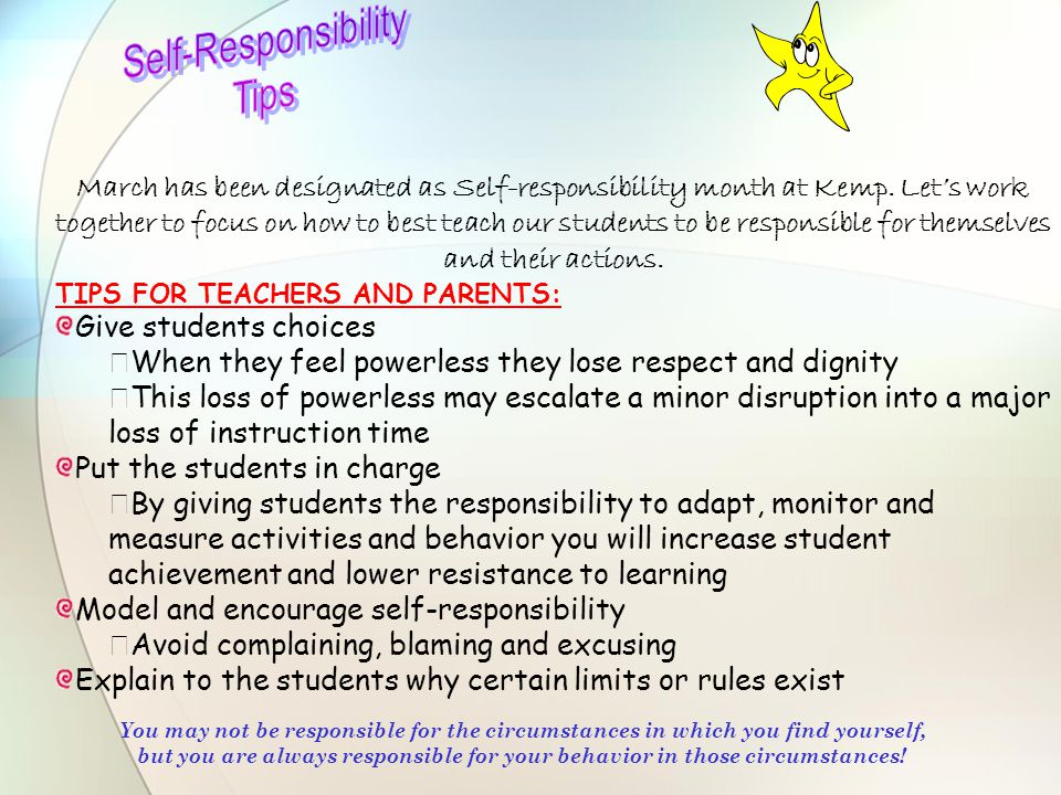 Self-Responsibility Tips