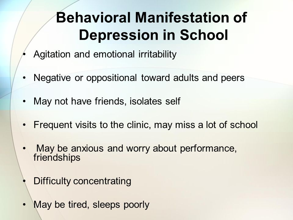 Behavioral Manifestation of Depression in School