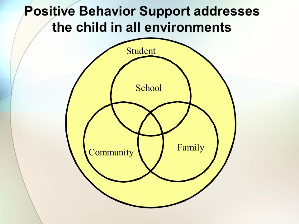 Positive Behavior Support addresses the child in all environments