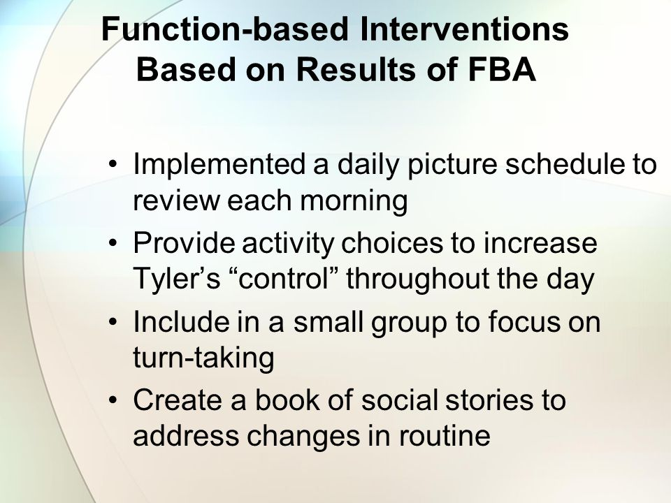 Function-based Interventions Based on Results of FBA