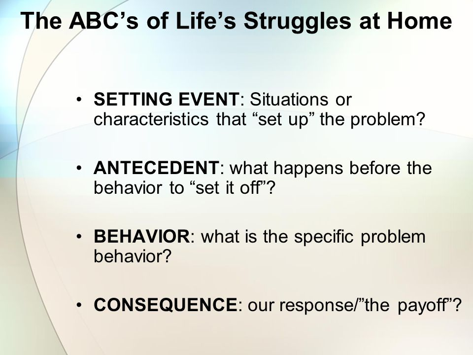 The ABC's of Life's Struggles at Home