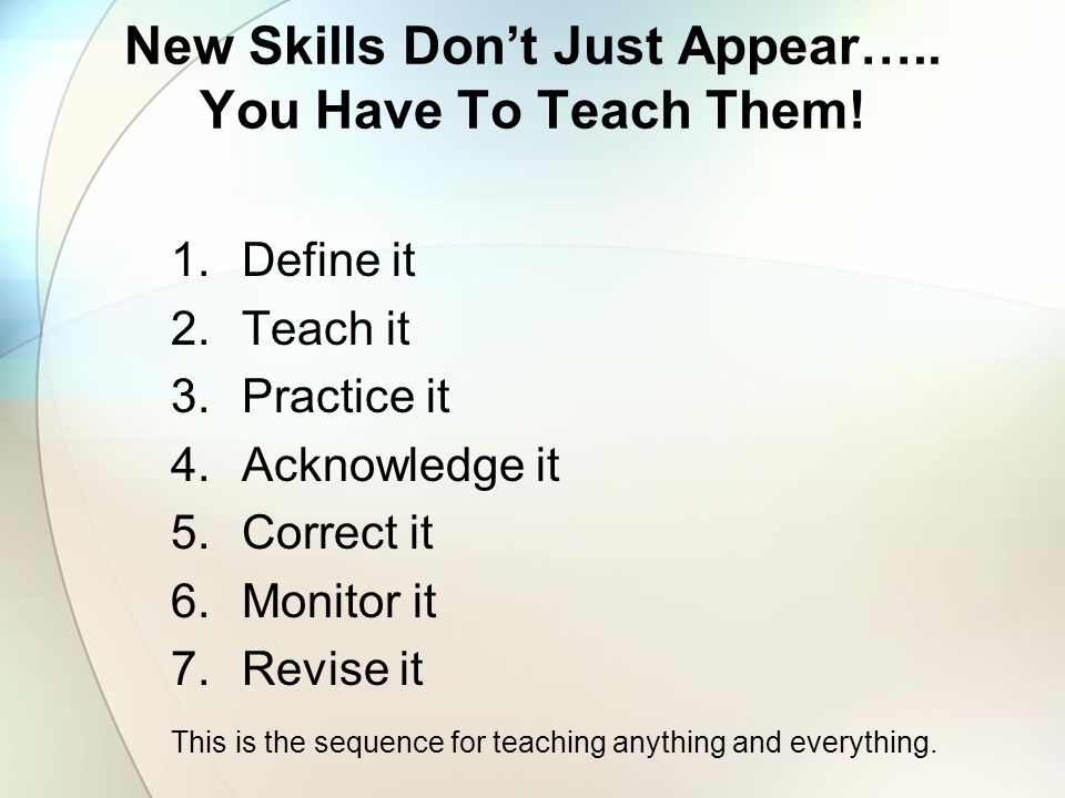 New Skills Don't Just Appear….. You Have To Teach Them!
