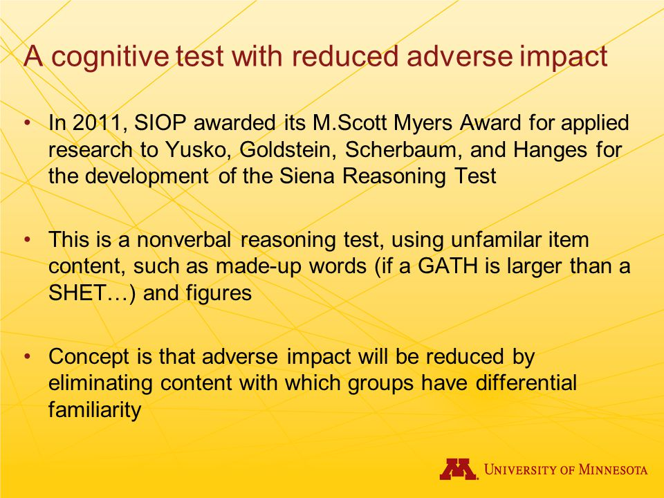 A cognitive test with reduced adverse impact