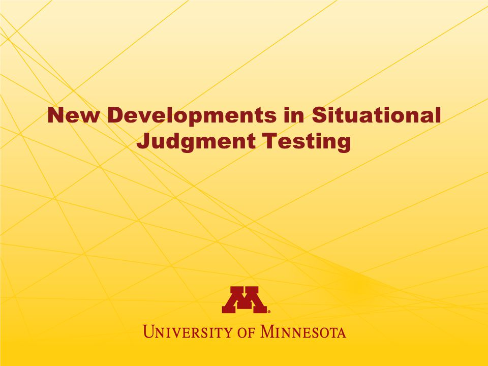 New Developments in Situational Judgment Testing