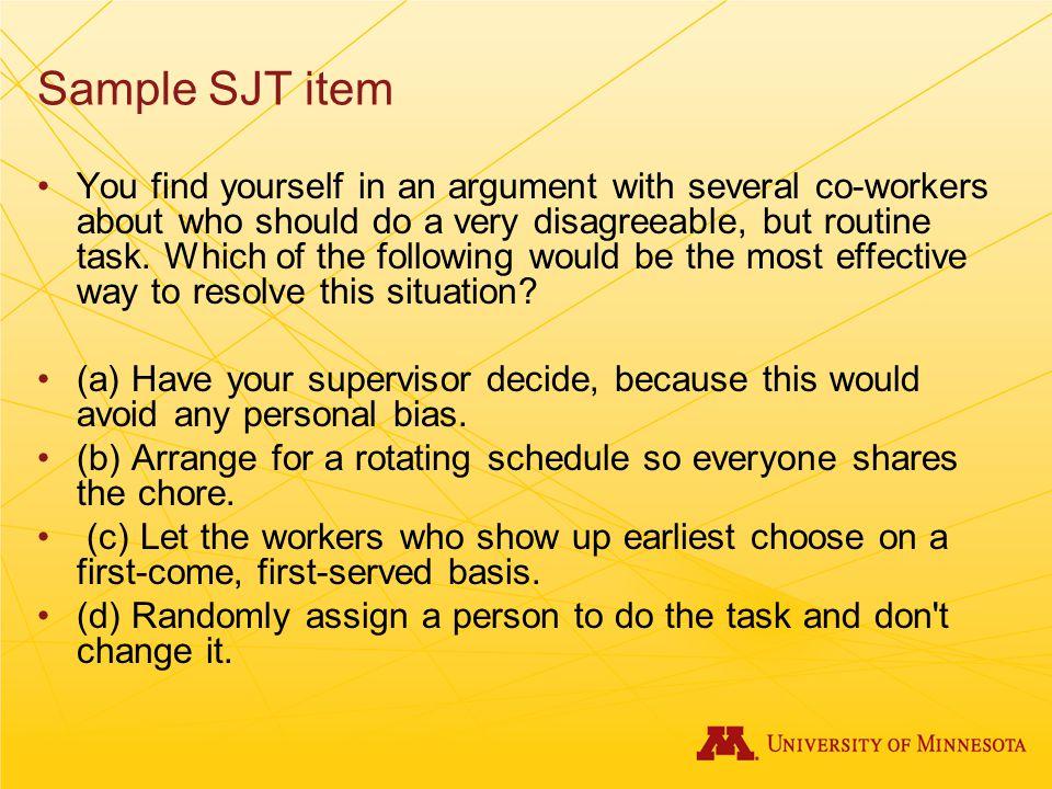 Sample SJT item