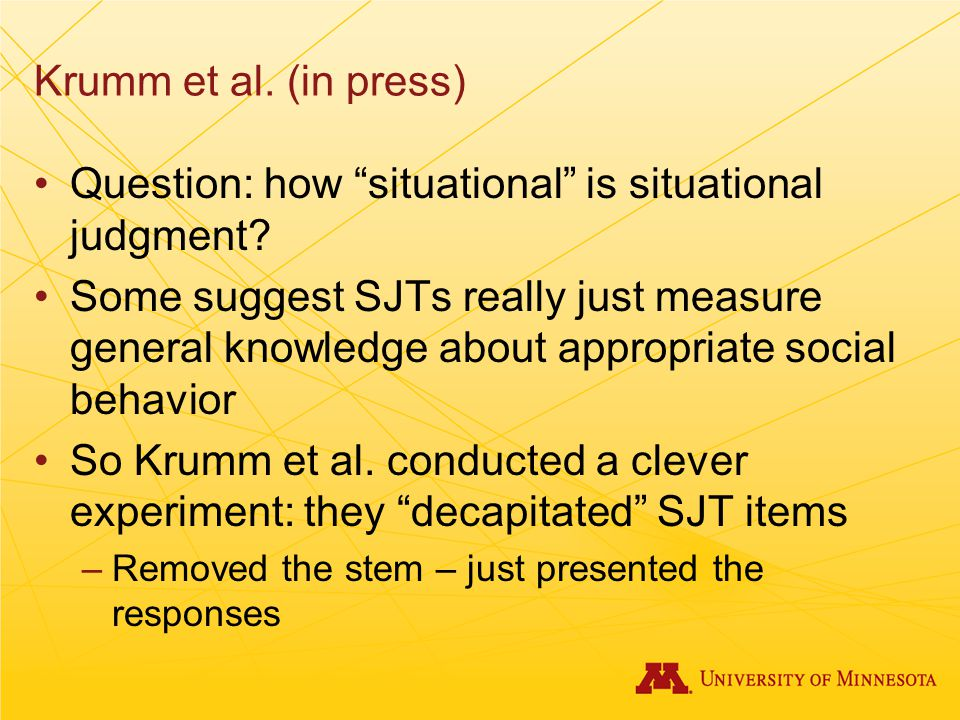 Question: how situational is situational judgment