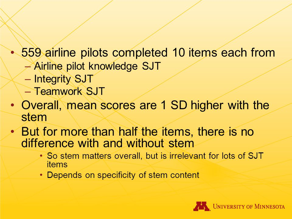 559 airline pilots completed 10 items each from