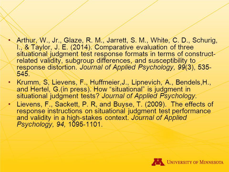 Arthur, W. , Jr. , Glaze, R. M. , Jarrett, S. M. , White, C. D