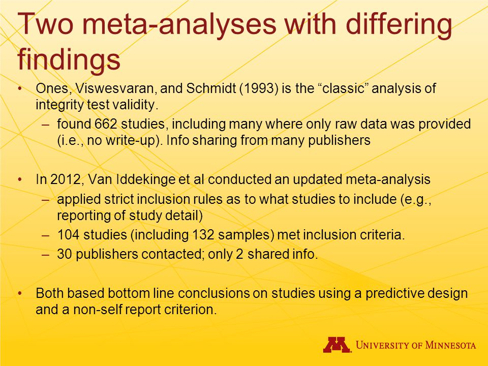 Two meta-analyses with differing findings