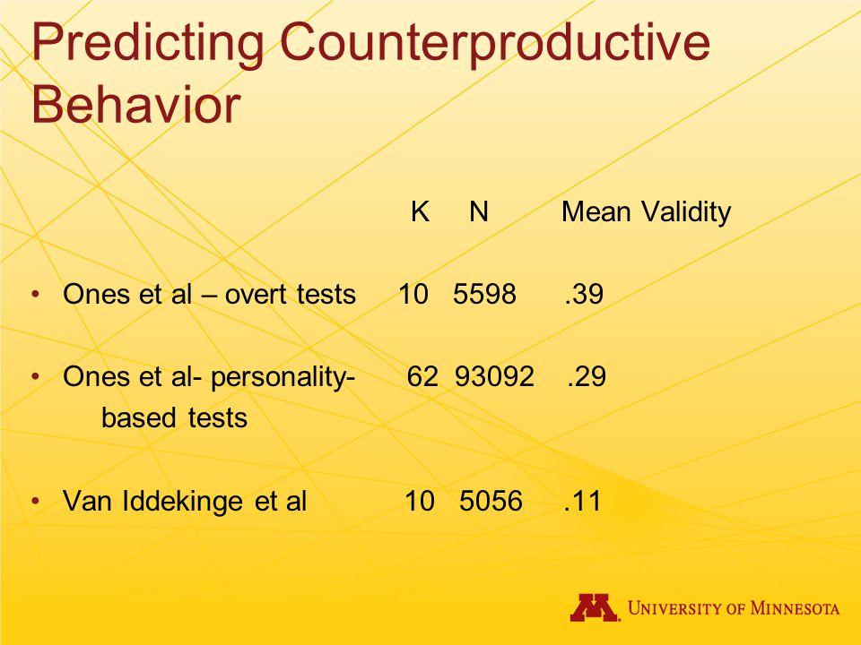 Predicting Counterproductive Behavior