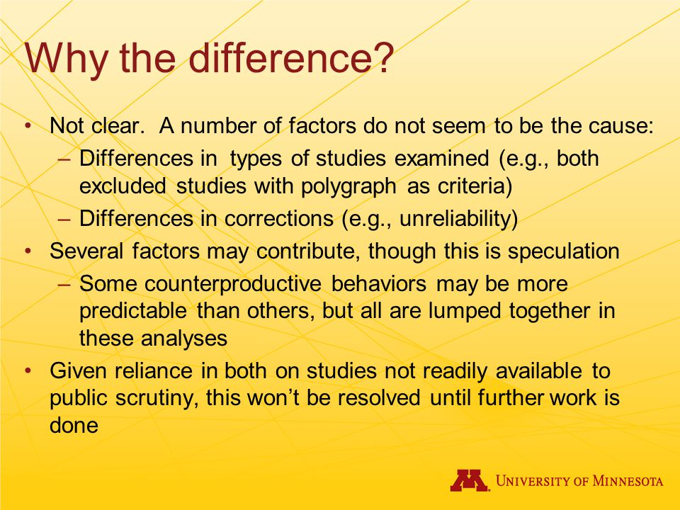 Why the difference Not clear. A number of factors do not seem to be the cause: