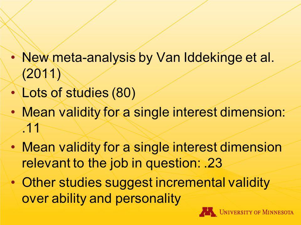 New meta-analysis by Van Iddekinge et al. (2011)
