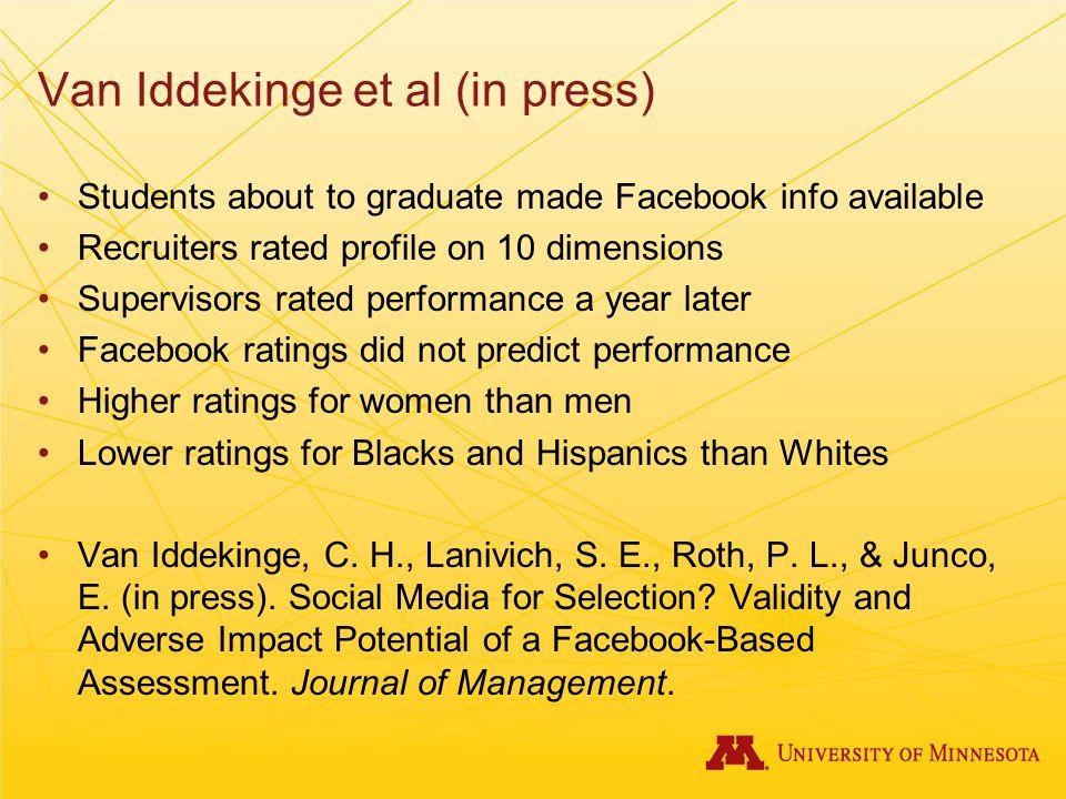 Van Iddekinge et al (in press)